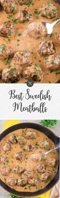 dinner recipes for family main dishes Best Swedish meatballs - a delicious dish with tender and juicy homemade meatballs served with a rich and creamy sauce over mashed potatoes or egg noodles. A classic comfort food your whole family will love. Ground Beef Recipes, Pork Recipes, Cooking Recipes, Meatball Recipes, Meal Recipes, Tasty Dishes, Food Dishes, Main Dishes, Healthy Diet Recipes