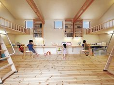 レッドパイン無垢フローリング#Pine #Flooring Japanese Home Decor, Japanese Interior, Japanese House, Bedroom Loft, Kids Bedroom, Japan House Design, Kids Office, Baby Boy Room Decor, Kid Beds