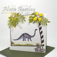 Gothdove Designs - Alison Barclay - Stampin' Up! Australia - Stampin' Up! No Bones About It + Botanical Blooms stamp sets. A dinosaur takes a walk in a prehistoric tropical garden - yes??!