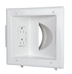CE Tech's Recessed Media Plate with Duplex Receptacle offers the convenience of a duplex receptacle and a recessed plate with enough room to store the low voltage cables behind your HDTV. ((Extension??))