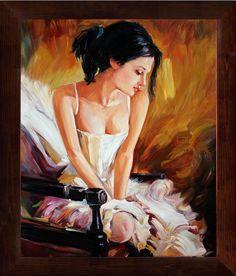 Shyness Original Oil Painting on Canvas FRAMED Wall Decor Art. $ 395.00, via Etsy.