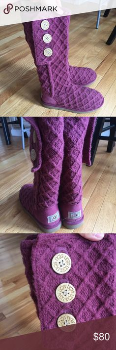 Maroon Ugg boots Maroon Bailey button Ugg boots. Excellent condition, I probably wore these about once or twice. Size 8. UGG Shoes Winter & Rain Boots
