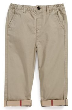 Burberry 'Ricky' Check Lined Roll Cuff Pants (Baby Boys) available at #Nordstrom