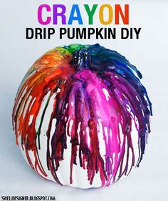 Crayon Drip Art Pumpkin Tutorial... would be a fun activity with the kids!