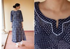 Kurtis for women - Navy Blue Kurta by Suvasa PC 16694 - 1