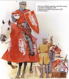 The Army of Philip Augustus early Century. The Sire De Montfort 1215 Brabancon knight being armed 1225 French Squire Art by Angus McBride Medieval World, Medieval Knight, Medieval Armor, Medieval Fantasy, Medieval Times, High Middle Ages, Armadura Medieval, Knight Armor, Illustration