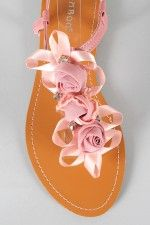 Bamboo Steno-01 Rosette T-Strap Flat Sandal - Pretty sure these are going to be my shoes! In White