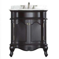 Messina 30 in. W x 23 in. D x 35 in. H Vanity in Espresso with Marble Vanity Top in White with Basin