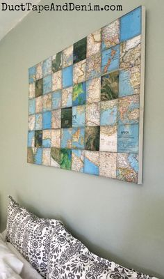 DIY world map art collage canvas | DuctTapeAndDenim.com