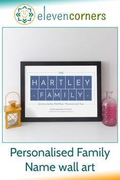 Customise this print with the family surname and names, add an address or other special message. Unique personalised family gift idea. #elevencorners #familygift #personalisedgift #family