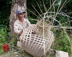 Japanese basket and maker the three directional weave allows the weave to be open without loosing any structural integrity