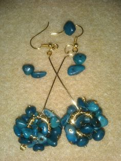Navy blue glass pebbles earrings