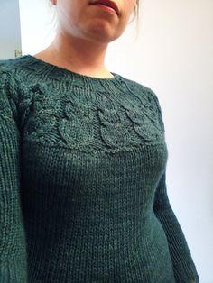 My Owls (pattern by Kate Davies) in lovely Malabrigo Twist -- a knitted sweatshirt of softness.