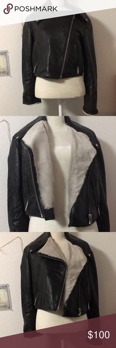 Topshop leather jacket shearing lined Soft leather with shearing fur! Size 10 and can fit a little smaller, good condition, from topshop fall collection Topshop Jackets & Coats