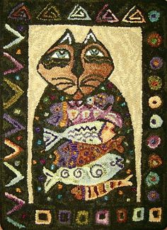 Laurel Burch cat by Loretta Moore? Love the border! Rug Hooking Designs, Rug Hooking Patterns, Penny Rugs, Laurel Burch Fabric, Cat Rug, Latch Hook Rugs, Hand Hooked Rugs, Textiles, Cat Crafts