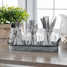 Mason Jar Caddy with Ribbed Tray is part of Kitchen decor - Serve your guests in style with this Mason Jar Caddy with a Ribbed Tray Its ribbed detail makes it a rustic accent to your next gourmet dinner party Home Decor Kitchen, Kitchen Dining, Diy Home Decor, Mason Jar Crafts, Mason Jar Diy, Mason Jar Storage, Cutlery Storage, Modern Farmhouse Style, Spring Home