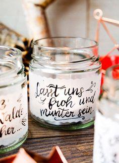 DIY Teelichtgläser mit Transparentpapier bekleben und mit schönen weihnachtlichen Sätzen beschreiben   Kalligrafie   waseigenes.com DIY Blog