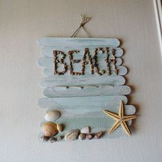 Beach crafts for kids. Seashell, sand, driftwood, rope and ocean themed summer beach crafts for adults. Crafts for beach wear and weddings. Make beach art. Home decorating seaside projects. Kids Crafts, Popsicle Stick Crafts For Kids, Popsicle Sticks, Craft Stick Crafts, Preschool Crafts, Craft Projects, Arts And Crafts, Craft Ideas, Play Ideas