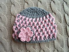 free crochet pattern girl hat gray and pink | love the texture and colors. Super Cute Pink and Gray Newborn Girl Hat ...