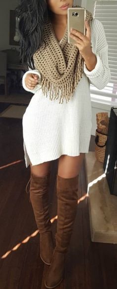 The Definite Guide to Winter Outfits: 55 Outfits to Copy NowWachabuy / Knit Dress + Scarf Winter Dress Outfits, Casual Dress Outfits, Casual Summer Outfits, Trendy Dresses, Fall Winter Outfits, Spring Outfits, Dress Winter, Casual Winter, Outfit Summer