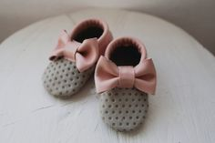 Leather Baby Moccasin // Pink & Tan Polka Dot