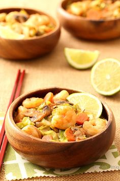 """Looking to cut back on carbs and eat more vegetables? Easy Thai Sweet Chili Shrimp with Cabbage """"Noodles"""" cooks in under 30 minutes, perfect for menu planning."""