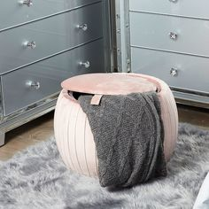 Blush Pink Round Velvet Storage Stool In Plush Fabric Pink Headboard, Headboard With Shelves, Pink Ottoman, Upholstered Swivel Chairs, Stool Covers, King Size Bed Frame, Storage Stool, Box Bed, Fabric Pictures