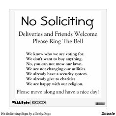 No Soliciting Sign Wall Decals More