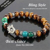 Handmade Round Tiger Eyes And Turquoise  Multi Charms Bracelet Fatima Hand Evil Eye Charm Hamsa Bracelet
