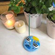 Stylised Face Incense Holder in Blue - Neil Ceramic Clay, Ceramic Pottery, Pottery Art, Polymer Clay Crafts, Diy Clay, Diy Incense Holder, Ceramic Incense Holder, Diy Air Dry Clay, Keramik Design