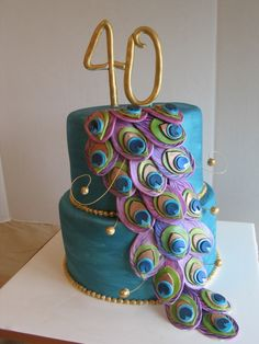 peacock cake  By: beenzee