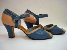 1930s-1940s Peep Toe BABYDOLL BLUE and PINK Slingback Ankle Strap Heels Sz 6.5. $48.00, via Etsy.