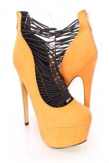 Orange Strappy Platform 6 Inch High Heels Faux Leather