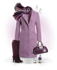 """""""Purple for Fall/Winter"""" by joy2thahworld ❤ liked on Polyvore featuring moda, John Hardy, Kim Rogers, Chico's, Loro Piana, Karl Lagerfeld, suede, scarf i longcoat"""