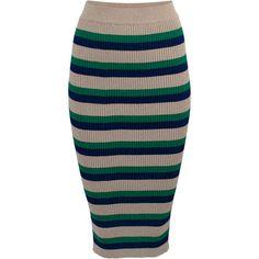 Catalina High Waist Skirt | Moda Operandi (7,845 THB) ❤ liked on Polyvore featuring skirts, bodycon skirt, knee length bodycon skirt, brown bodycon skirt, ribbed skirt and body con skirt