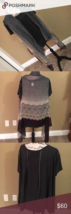 Two piece set Beautiful BRAND NEW WITH TAGS two piece set. So soft grey short sleeve tee with aqua blue stitching accents on front and back. Sleeveless sheer vest in grey, cream, and plum with beautiful print. Such fun set, but my closet is too full and it has to go! ODDY Tops