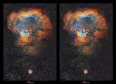 3D picture of a nebula Ced214_Cross aka 'The Cosmic Question Mark' [1200x871] - cross your eyes until the images overlap for 3D effect