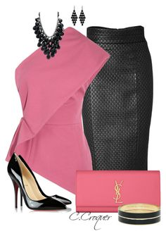 """""""Pink & Black Only Contest"""" by ccroquer ❤ liked on Polyvore featuring L'Wren Scott, Nicole Farhi, Yves Saint Laurent, Kate Spade, Oasis and Christian Louboutin"""