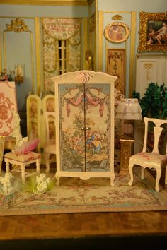 Miniature 1:12 scale French Romantic Wardrobe by MiniMondeBoutique