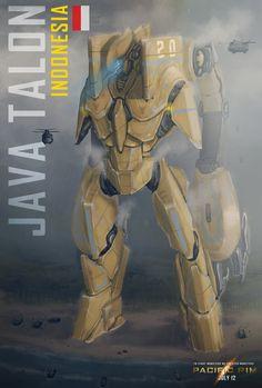 Pacific rim fan art by ~ericksambora Pacific Rim Jaeger, Pacific Rim Kaiju, Robot Militar, Cyberpunk, Cool Robots, Futuristic Art, Pokemon, Sci Fi Art, Concept Art