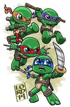 Chibi Teenage mutant ninja turtles by lordmesa Ninja Turtle Drawing, Ninja Turtle Tattoos, Teenage Ninja Turtles, Ninja Turtles Art, Chibi, Ninja Turtle Zeichnung, Lord Mesa Art, Tmnt 2012, Cute Drawings