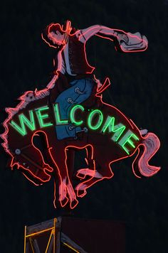 A Neon Sign in Jackson WY- Part of our American West Impressions Show by David Locke, Locke Design