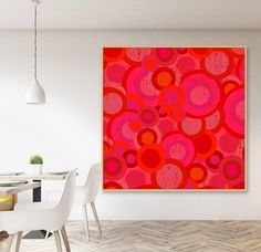 Red bubbles - canvas print with floating frame- 150 x 150 cm Bubble Art, Large Canvas Art, Floating Frame, Bubbles, Canvas Prints, Tapestry, Rugs, Wall, Home Decor