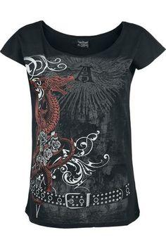 """Classica T-Shirt donna """"Draco Rosa"""" del brand Alchemy England taglio casual con stampa sul davanti e ampio scollo che permette di indossare il capo lasciando una spalla scoperta."""