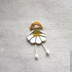 Купить Колокольчик. Брошь - белый, ромашка, цветок, летняя брошь, брошь из полимерной глины