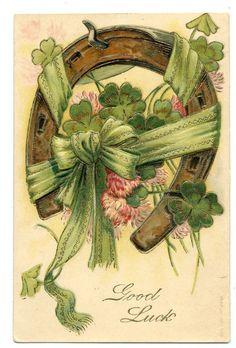 Horseshoe^Clover^Green Ribbon Bow^Good Luck^1907 Vintage Greeting Art Postcard