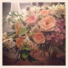 Late-night designing...Floral by Jackson Durham #jacksondurham #wedding #weddingflowers #floral #flowers #floraldesign #events #eventdesign #geranium #hydrangea #peachroses #arabicum #scabiosapods