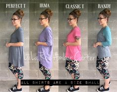 LuLaRoe sizes vary between the styles. Here's a photo showing how a Small fits in the different styles! LuLaRoe Shirt styles comparison Perfect T Irma Classic T Randy How to wear #lularoe #Irma #perfect #ClassicT #Randy #comparison #leggings #comfortable #fashion
