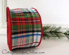 "25 Feet Christmas Country Red Brown Plaid Jute Burlap Like Wired Ribbon 2 1//2/""W"