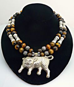 Handmade Adorable-Tiger Eye and Sterling Silver Necklace with Tiger Pendant by MalibuJewelryArts on Etsy